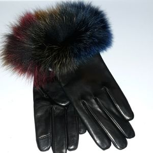 ECHO BLACK LEATHER GLOVES WITH COLORFUL FUR CUFFS